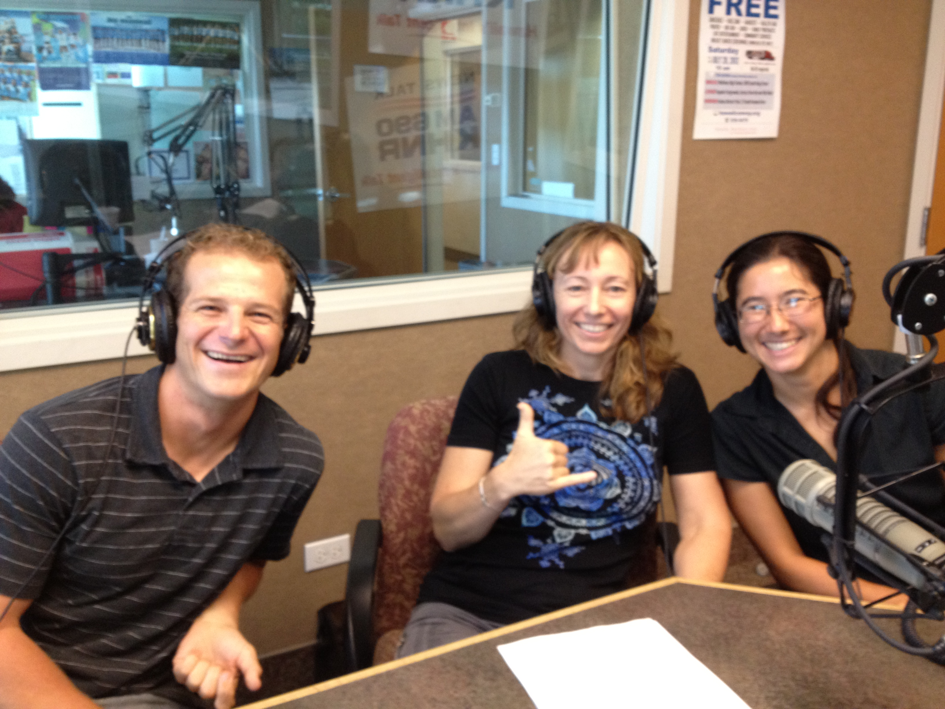 Radio guests Daniel Wagner, Judy Lemus, and Megan Onuma.